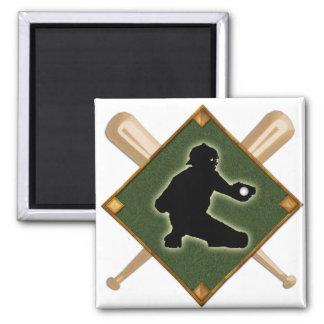 Baseball Diamond Catcher 1 2 Inch Square Magnet