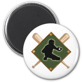 Baseball Diamond Catcher 1 2 Inch Round Magnet