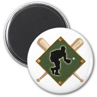 Baseball Diamond Fielding 1 2 Inch Round Magnet