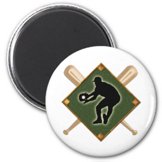 Baseball Diamond Fielding 2 2 Inch Round Magnet