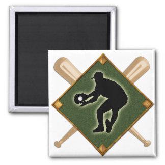 Baseball Diamond Fielding 2 2 Inch Square Magnet