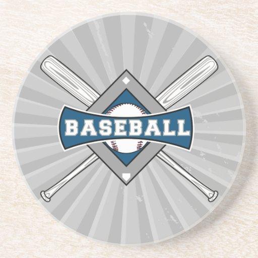 baseball diamond logo gray blue white beverage coaster ...