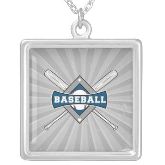 baseball diamond logo gray blue white square pendant necklace