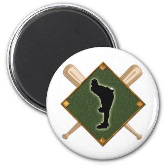 Baseball Diamond Pitching 1 2 Inch Round Magnet
