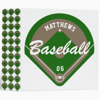 Baseball Diamond Player Name and Number Cards 3 Ring Binder