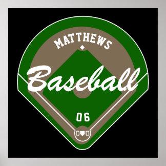 Baseball Diamond Player Name and Number Poster