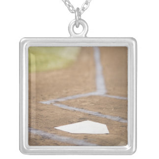 Baseball diamond silver plated necklace