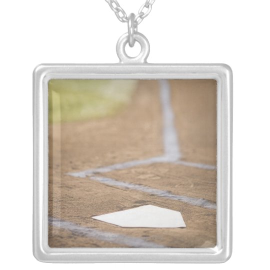 Baseball diamond silver plated necklace