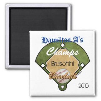 Baseball Diamond Sport 2 Inch Square Magnet