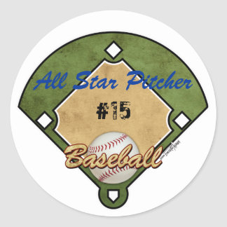 Baseball Diamond Sport Classic Round Sticker
