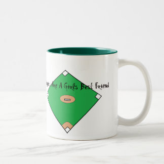 Baseball Diamonds Are A Girls Best Friend Two-Tone Coffee Mug