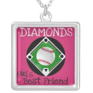 Baseball  diamonds  girls best friend necklace