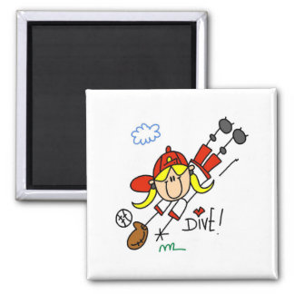 Baseball Dive Girls Softball T-shirts and Gifts 2 Inch Square Magnet