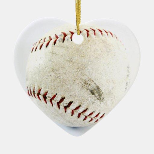 Baseball Double-Sided Heart Ceramic Christmas Ornament