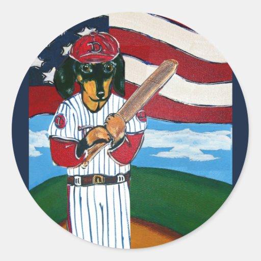 Baseball doxie classic round sticker