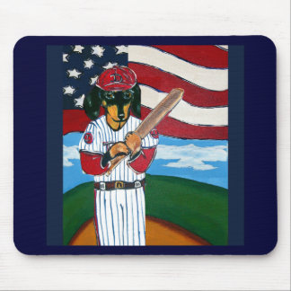 Baseball doxie mouse pad