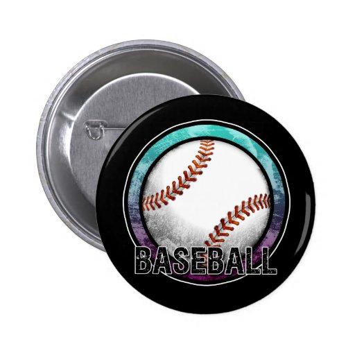 Baseball Emblem Blue Purple Button