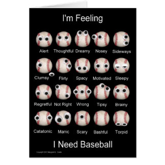 Baseball Emotions Blank Card