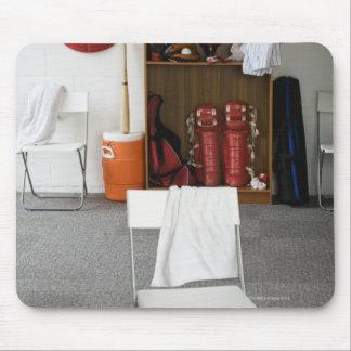 Baseball equipment in locker room mouse pad