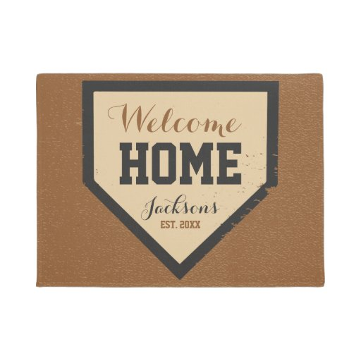 Baseball Family Home Plate Name And Year Doormat Zazzle