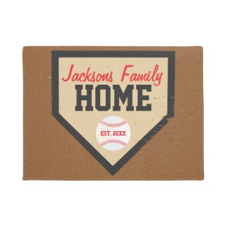 Baseball Family Home Plate Name and Year Doormat