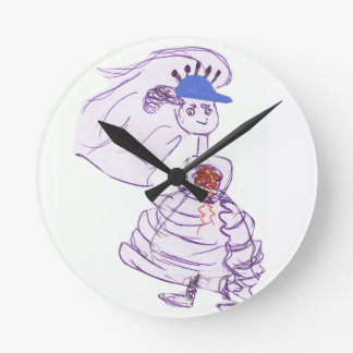 Baseball Fan Bride Round Clock