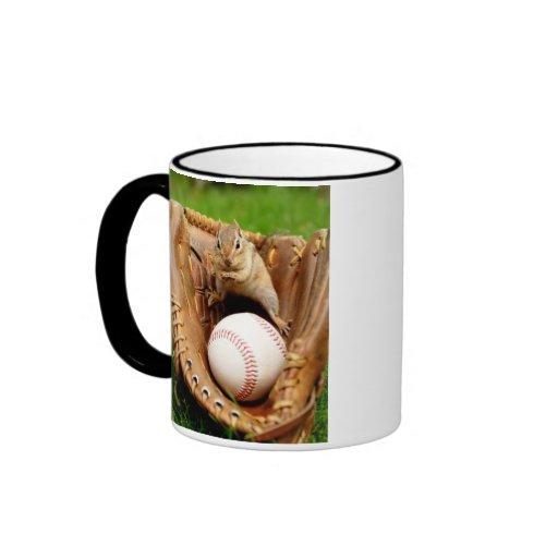 Baseball Fan Chipmunk Coffee Mugs