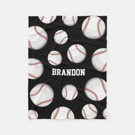 Baseball Fan Custom Name Black Fleece Blanket