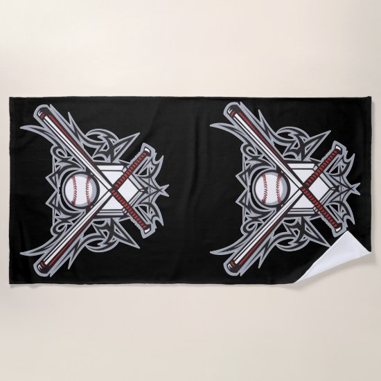 Baseball fan design beach towel