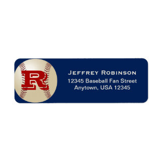 Baseball Fan Name and Address Label Monogram