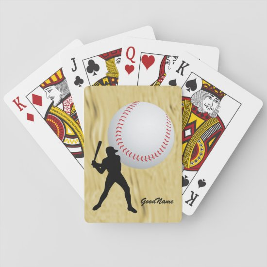 Baseball fan, personalize with name playing cards