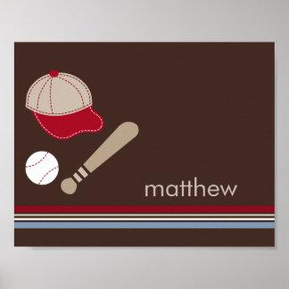 Baseball Fan Personalized Kid Wall Art Poster