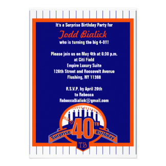 Baseball fan surprise birthday invitation