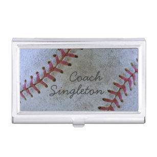 Sports business card holders cases zazzle baseball fan tasticbattered ballauthentic scuff business card case colourmoves