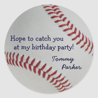 Baseball Fan-tastic_Catch you at my birthday party Classic Round Sticker