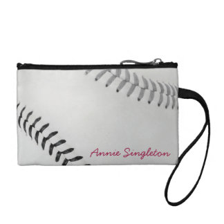 Baseball Fan-tastic_Color Laces_gy_bk_personalized Coin Purses