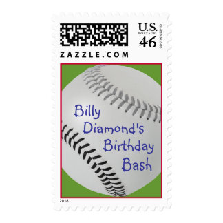 Baseball Fan-tastic_Color Laces_gy_bk_personalized Postage Stamp