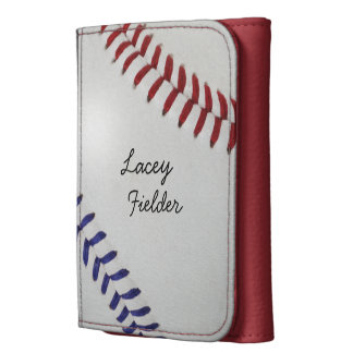 Baseball Fan-tastic_Color Laces_nb_dr_personalized Leather Tri-fold Wallet