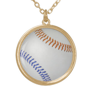 Baseball Fan-tastic_Color Laces_og_bl Round Pendant Necklace