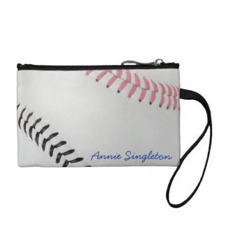 Baseball Fan-tastic_Color Laces_pk_bk_personalized Change Purses