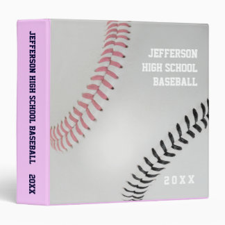 Baseball Fan-tastic_Color Laces_pk_bk_personalized 3 Ring Binder