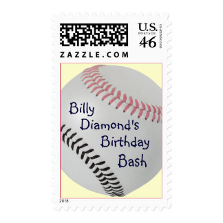 Baseball Fan-tastic_Color Laces_pk_bk_personalized Postage Stamp