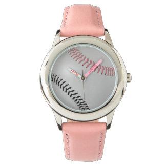 Baseball Fan-tastic_Color Laces_pk_bk Wristwatches