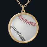 """Baseball Fan-tastic_Color Laces_rd_bk Gold Plated Necklace<br><div class=""""desc"""">Who says baseball laces always have to be red? For additional designing options,  just click &quot;Customize it, &quot; and away you go!</div>"""