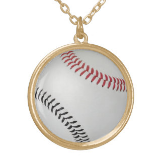 Baseball Fan-tastic_Color Laces_rd_bk Gold Plated Necklace