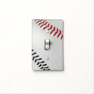 Baseball Fan-tastic_Color Laces_rd_bk Light Switch Covers