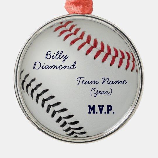 Baseball Fan-tastic_Color Laces_rd_bk Metal Ornament