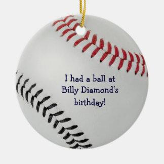 Baseball Fan-tastic_Color Laces_rd_bk_ party favor Christmas Ornament