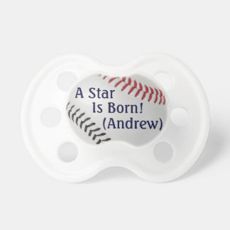 Baseball Fan-tastic_Color Laces_rd_bk_personalized Pacifiers