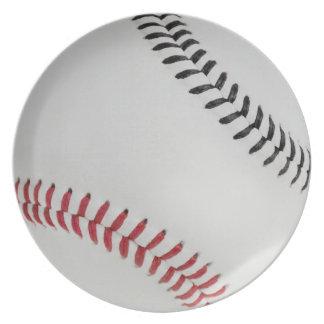 Baseball Fan-tastic_Color Laces_rd_bk Dinner Plates